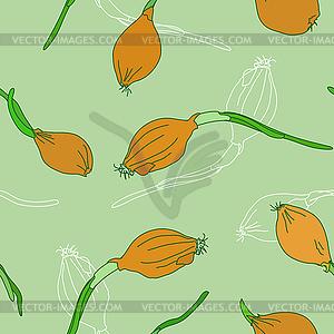 Nahtlose Muster mit goldenen Zwiebel Sprießen - Stock Vektor-Bild