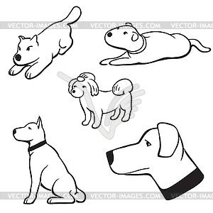 Hunde setzen - Vektor-Clipart / Vektor-Bild