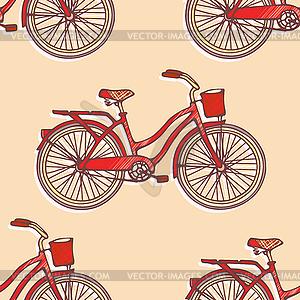 Nahtlose Muster mit Vintage-Fahrrädern - Vektorgrafik-Design