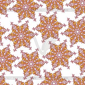Nahtlose Muster mit dekorativen Schneeflocken - Vektor-Clipart / Vektor-Bild