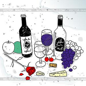 Stillleben mit Wein - Stock Vektorgrafik