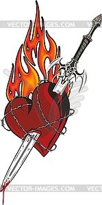 Schwert im Herzen - Vektor-Illustration