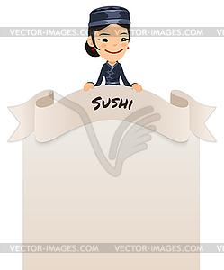 Asiatischen weiblichen Küchenchef Blick auf leere Menü auf Top - Vektor-Clipart / Vektor-Bild