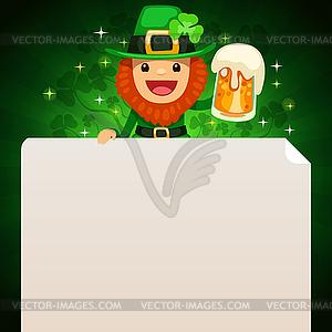 Leprechaun Blick auf leere Plakat oben auf grün - Stock Vektor-Clipart
