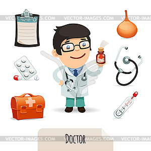 Medizinische Satz mit männlichen Arzt - Vector Clip Art