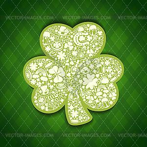 St. Patrick-Tageskarte von weißen Objekten auf irisch - Vector-Clipart / Vektor-Bild