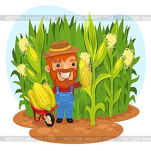 Ernte Landwirt im Getreidefeld - vektorisiertes Clip-Art