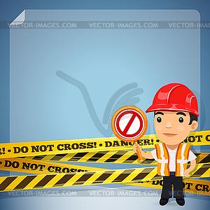 Foreman mit Gefahr Tapes - Stock Vektorgrafik