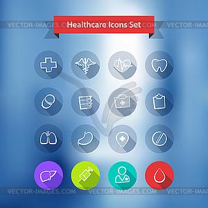 Krankenhaus Blur Hintergrund mit Flat-Icons Set - Vector-Illustration