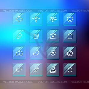 Medizinische Flat Glass Icons auf Blur Hintergrund - Vektor-Clipart / Vektorgrafik