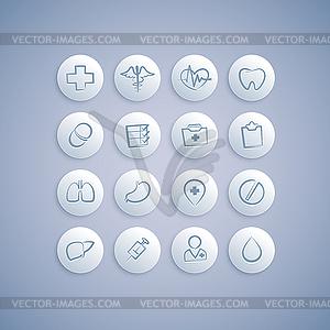 Set von medizinischen Symbole auf Pillen - vektorisierte Abbildung