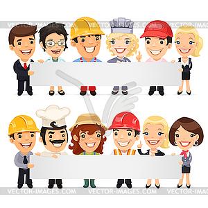 Diverse Berufs, die leeren Banner - Clipart-Design