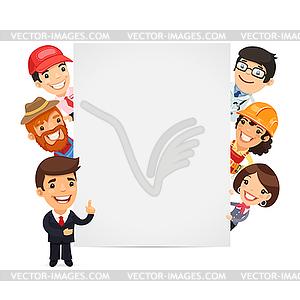 Diverse Berufs, die leeren Vertikal - Vektor-Clipart EPS
