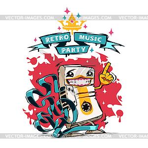 Retro-Musik-Party-Plakat mit Glückliche Audio-Kassette - vektorisiertes Clipart