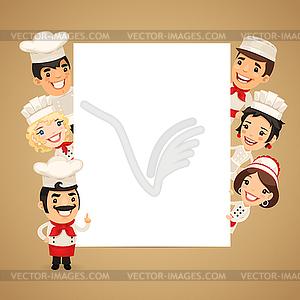 Chefs, die leeren Vertical Banner - vektorisiertes Bild