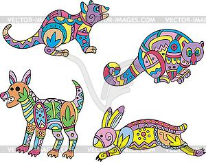 Motley exotische Tiere - Stock-Clipart