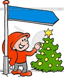 Handgezeichnete ein Happy Christmas Elf suchen - Vector-Clipart