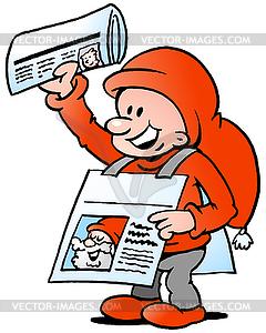 Handgezeichnete ein Happy Christmas Elf mit News Paper - Vector Clip Art