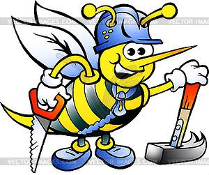 Handgezeichnete ein frohes Working Holzbiene - Vektorabbildung
