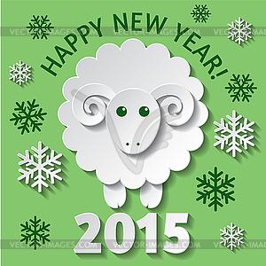 Neujahrskarte mit Schaf - Vektor Clip Art