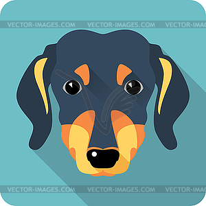 Hund Dackel Symbol flaches Design - farbige Vektorgrafik