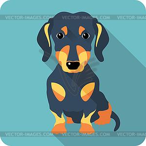 Hund Dackel Symbol flaches Design - Clipart-Bild