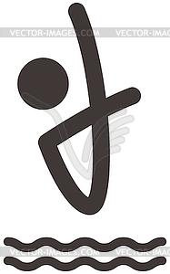Tauchen Symbol - schwarzweiße Vektorgrafik