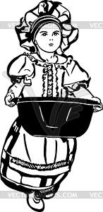 Skizze von Mädchen ist mit Waschbecken - Vektor-Clipart