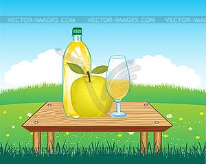 Tabelle mit Getränk auf Natur - Vektorgrafik-Design