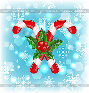 Weihnachten Karamell Stöcke mit Holly Berry, glühende - Vector-Clipart EPS