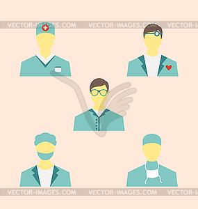 Symbole der medizinischen Mitarbeiter eingestellt in der modernen Wohnung desig - Royalty-Free Vektor-Clipart