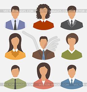 Avatar Satz vorne Porträt Büroangestellter Geschäfts - Vektorgrafik
