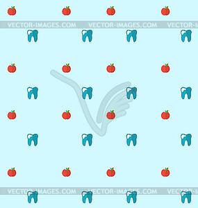 Nahtloses Muster mit Zahn und Äpfel, Gesundheit - farbige Vektorgrafik