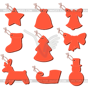 Christmas labels on string - Vector-Illustration
