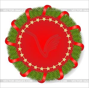 Runde Tannengirlande mit einer roten Schleife verziert - Vector-Illustration