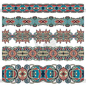 Sammlung von nahtlosen ornamentalen floralen Streifen - Clipart-Design