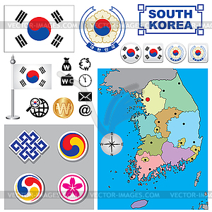Südkorea Karte - Vector-Abbildung