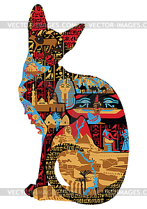 Ägyptische Muster in Katzen - Vektor-Clipart / Vektorgrafik