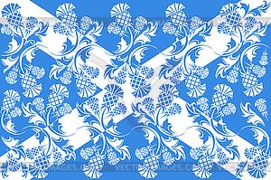 Schottischen Flagge mit Ornamenten Blumen Distel - Stock-Clipart