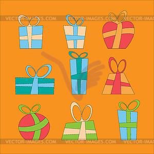 Sammlung von bunten Weihnachtsgeschenk-Boxen. - Vector-Illustration