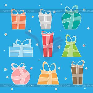 Sammlung von bunten Weihnachtsgeschenk-Boxen. - Vektor-Skizze