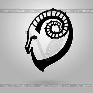 Stilisierte schwarze Silhouette goat`s Kopf. Ibex Zeichen - schwarzweiße Vektorgrafik
