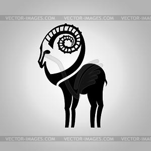 Stilisierte schwarze Silhouette goat`s Figur. Steinbock - Vektor-Clipart EPS