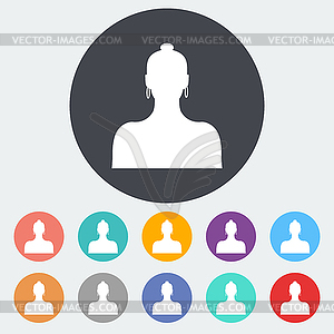 Female avatar einzelnes Symbol - vektorisierte Grafik