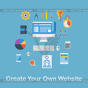 Erstellen Sie Ihre eigene Website - Vektorgrafik