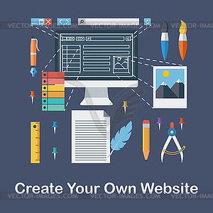 Erstellen Sie Ihre eigene Website - Vector-Illustration