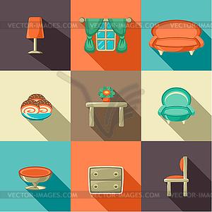 Wohnung Icons mit Haushaltsgegenstände - Royalty-Free Vektor-Clipart