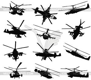 Hubschrauber Silhouetten eingestellt - Vektor-Design