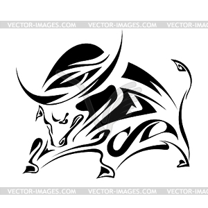 Einzelne schwarze Silhouette gehörnt, wütender Stier auf - Stock-Clipart