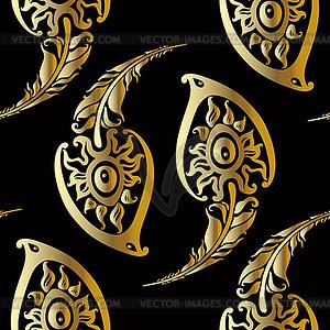 Schöne Pfauenfedern. Gold-Muster - Vektor-Clipart EPS